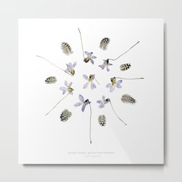 wildflower mandala... purple violets, guinea fowl feathers Metal Print
