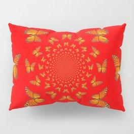 CHINESE RED MONARCH BUTTERFLIES MATING DANCE Pillow Sham