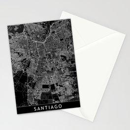 Santiago Black Map Stationery Cards