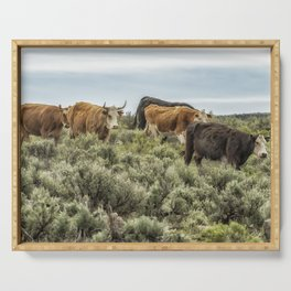 Five Cows Coming Down a Hill Serving Tray