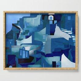 greece santorini abstract illustration Serving Tray