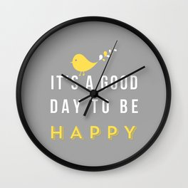 Happy Poster - grey Wall Clock
