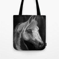arab Tote Bags featuring Arab horse portrait by Mindgoop