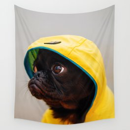 Cute Pug in Raincoat (Color) Wall Tapestry