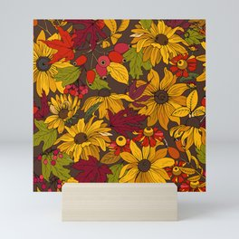 autumn flowers and leaves Mini Art Print