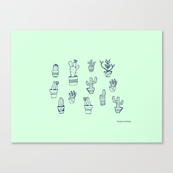 Cactus and Mint Canvas Print