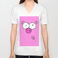 pig V-neck T-shirts featuring Pig by Frances Roughton