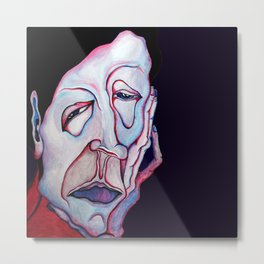 Thinker Surreal Melting Portrait Of a Man Damned Poet Metal Print