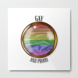 Gay And Proud Flag Button Metal Print