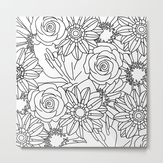 FLOWERS OF SUMMER B/W COLOUR IN Metal Print