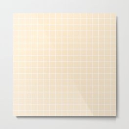 Blanched almond - pink color - White Lines Grid Pattern Metal Print