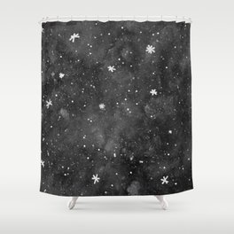 Watercolor galaxy - black and white Shower Curtain