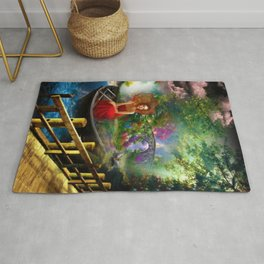 Looking on the other side of the lake surrealism digital art Rug