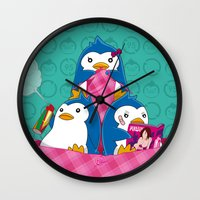 hentai Wall Clocks featuring 1-2-3 / We are Family! by Yue Graphic Design