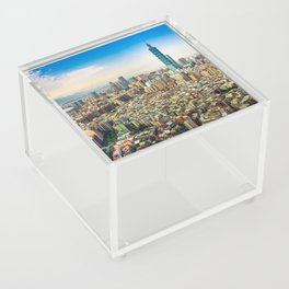 Aerial view and cityscape of Taipei, Taiwan Acrylic Box