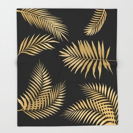 Golden and Black Palm Leaves Throw Blanket