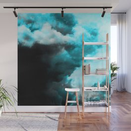 Relaxed - Cloudy Abstract In Blue And Black Wall Mural