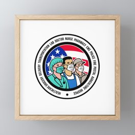 Mascot illustration of American front line worker like nurse, delivery, transportation, pharmacy, police, fire, postal, agriculture, EMS and hospice workers wearing surgical mask set inside circle. Framed Mini Art Print
