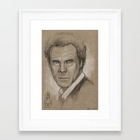 will ferrell Framed Art Prints featuring Will Ferrell Sketch by Jeremy Snow Illustration