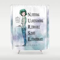 nurse Shower Curtains featuring Nurse with Stethoscope by Ginkelmier