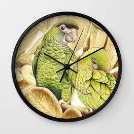 Green Macaws Wall Clock