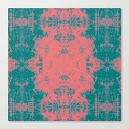 Living Coral Turquoise Shibori Tye Dye II Canvas Print