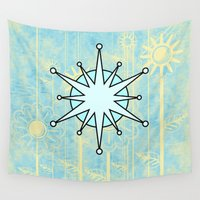 snowflake Wall Tapestries featuring Abstract snowflake by Wendy Townrow