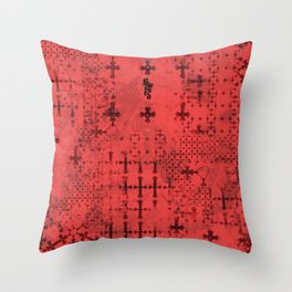 Blessed 3 (typography over cross pattern) Throw Pillow