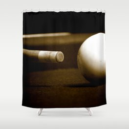 Pool Table-Sepia Shower Curtain