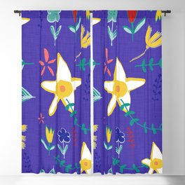Floral The Tortoise and the Hare is one of Aesop Fables blue Blackout Curtain