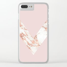 Queen pink - rose gold chevron Clear iPhone Case