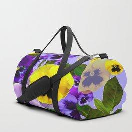 SPRING PURPLE & YELLOW PANSY FLOWERS Duffle Bag