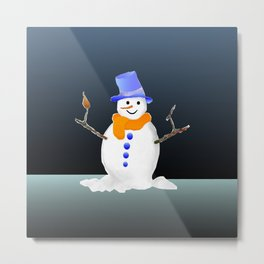Snowman in the evening Metal Print
