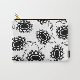 black & white flowers Carry-All Pouch