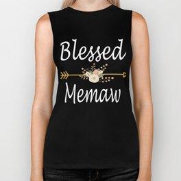 Blessed Memaw T Shirt Cute Grandma Gift Biker Tank