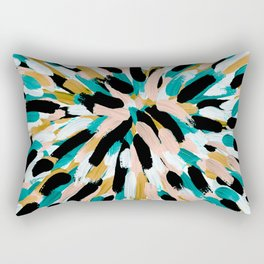 Teal, Pink, and Gold Paint Burst Rectangular Pillow