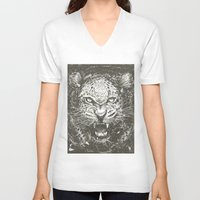 leopard V-neck T-shirts featuring LEOPARD by Stefania Grippaldi