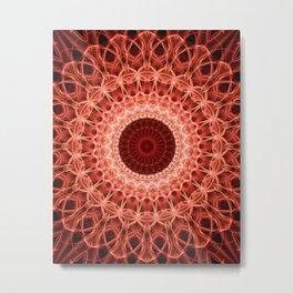 Pastel Red Mandala Metal Print