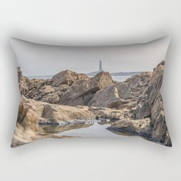 Puddle on the rocks with the north tower Rectangular Pillow