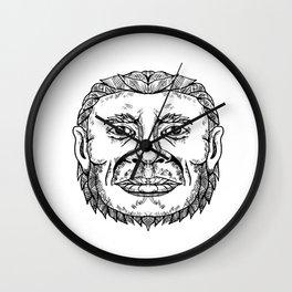 Neanderthal Male Head Doodle Art Wall Clock
