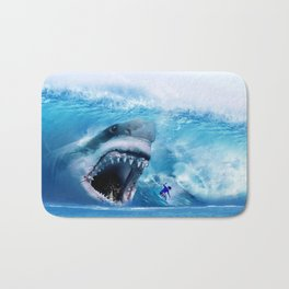 Megalodon attacks Surfer in a Wave Bath Mat