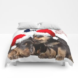 Puppy White Christmas I Saw Mummy Kissing Santa Claus Comforters