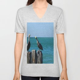Two Old Guys On A Jetty Unisex V-Neck