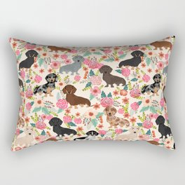 Dachshund floral dog breed pet patterns doxie dachsie gifts must haves Rectangular Pillow