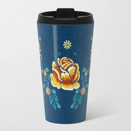 Yellow Embroidery Rose Travel Mug