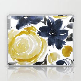 Navy and Yellow Loose Watercolor Floral Bouquet Laptop & iPad Skin