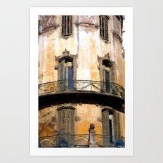 Barcelona balcony watercolour Art Print
