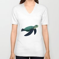 sea turtle V-neck T-shirts featuring Turtle by Imaginative Ink