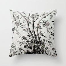 Peacock Tree Natural Throw Pillow