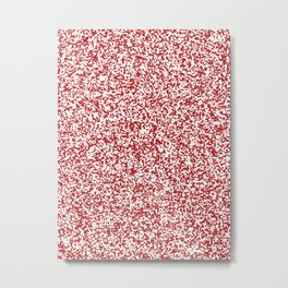Tiny Spots - White and Firebrick Red Metal Print